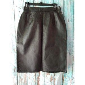 Black Genuine Leather Skirt Size 12